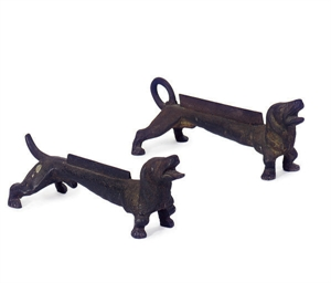 A PAIR OF CAST IRON FIGURAL AN