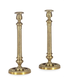 A PAIR OF ORMOLU CANDLESTICKS,