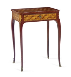 A FRENCH MAHOGANY AND ROSEWOOD