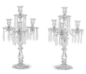 A PAIR OF CUT-GLASS FOUR-LIGHT
