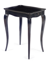 A FRENCH EBONIZED SIDE TABLE,