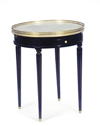 AN EBONIZED AND MARBLE-TOP GUE