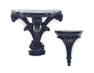 TWELVE EBONIZED WALL BRACKETS,