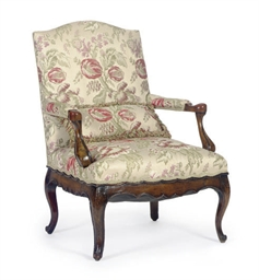 A LOUIS XV FRUITWOOD AND UPHOL