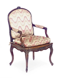 A LOUIS XV WALNUT, CANED AND U