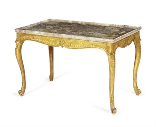 A GILTWOOD AND MARBLE TOP CENT