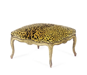 A GILTWOOD AND UPHOLSTERED OTT