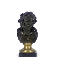 A FRENCH PATINATED BRONZE BUST