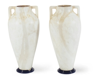 A PAIR OF ALABASTER URN-FORM T