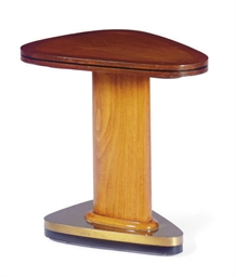 A WALNUT AND BRASS SIDE TABLE,
