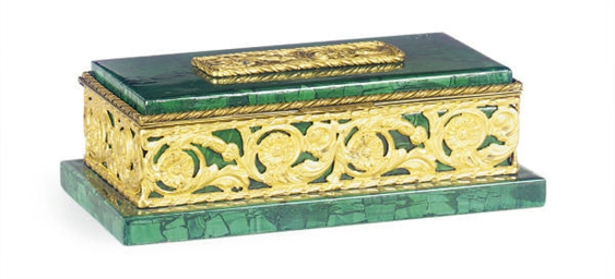 A GILT-METAL MOUNTED MALACHITE