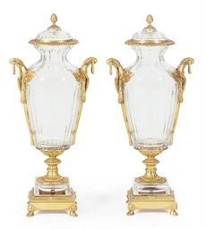 A PAIR OF ORMOLU-MOUNTED CUT-G