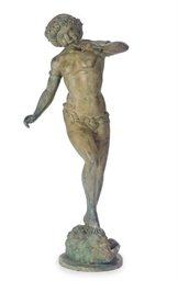 A PATINATED BRONZE FIGURAL FOU
