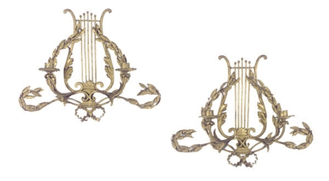 A PAIR OF GILT-METAL TWO-BRANC
