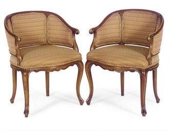 A PAIR OF FRUITWOOD AND UPHOLS