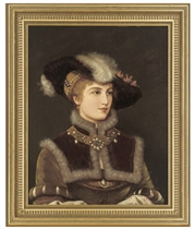 Portrait of a young lady, bust-length, in a fur hat with a feather and a gold and pearl necklace