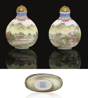 **A VERY FINE ENAMELLED WHITE GLASS SNUFF BOTTLE