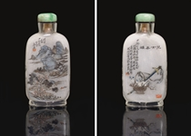 A RARE INSIDE-PAINTED GLASS SNUFF BOTTLE