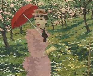 Femme à l'ombrelle rouge