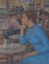 Eugénie à la robe bleue, terrasse des Deux Magots, Paris