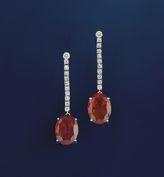 A pair of spessartine garnet a