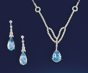 An aquamarine and diamond neck