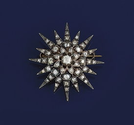 A Victorian diamond star brooc