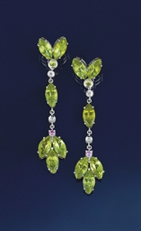 A pair of peridot, pink sapphi