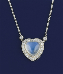 A moonstone and diamond pendan