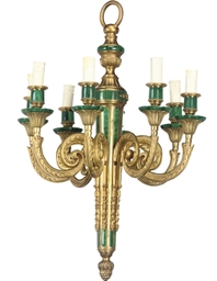 A GILT BRASS AND MALACHITE CHA