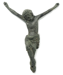 AN ENGLISH BRONZE CRUCIFIX FIG