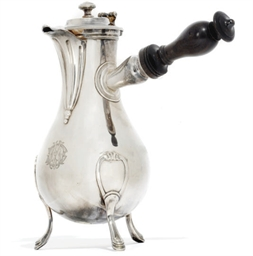 A FRENCH SILVER COFFEE POT