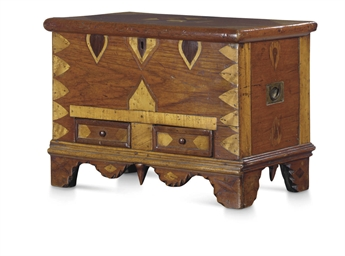 A SMALL TEAK AND INLAID CHEST