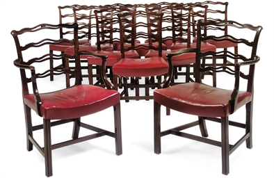 A SET OF TWELVE MAHOGANY LADDE