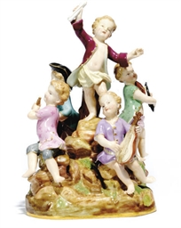 A MEISSEN PORCELAIN GROUP OF M
