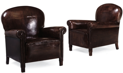 A PAIR OF ART DECO LEATHER UPH