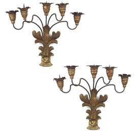 A SET OF FOUR VENETIAN GILT-WO