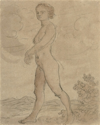 Female nude striding