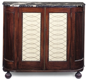 A REGENCY MAHOGANY MARBLE TOP