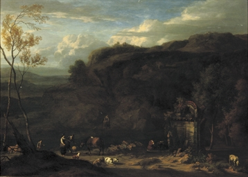An Italianate landscape with p
