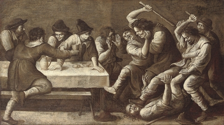 A peasant brawl in an inn; 'en