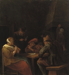 Peasants drinking and making m