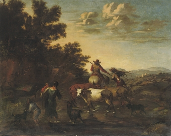A shepherd family with their cattle fording a stream in an Italianate landscape