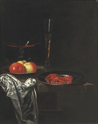 Two Venetian glasses, apples o