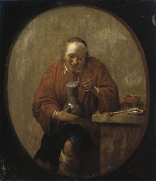 A peasant drinking and smoking