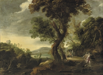 A wooded river landscape with Diana and her nymphs hunting