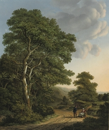 Travellers resting in a wooded