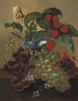 Fruits and flowers on a ledge