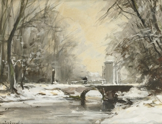 Crossing a bridge in Winter