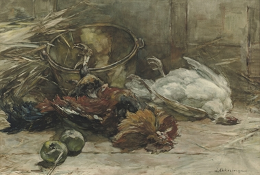 Still life with poultry and ap
